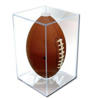 Deluxe Acrylic Full-Size Football Display Case Black Base at PristineAuction.com