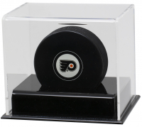 Deluxe Acrylic Full-Size Hockey Puck Display Case Black Base at PristineAuction.com