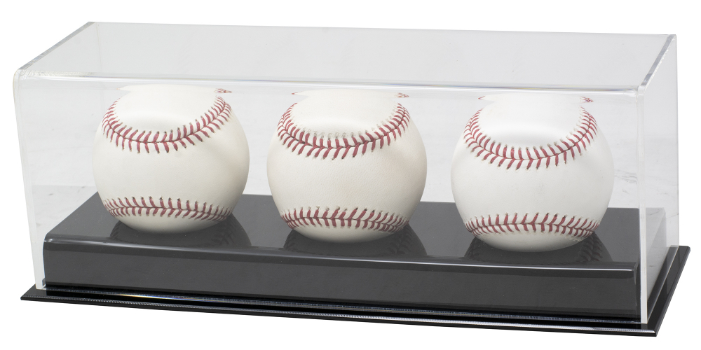 Deluxe Acrylic Full-Size Triple Baseball Display Case Black Base at PristineAuction.com