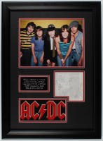 AC/DC 21.5x29.5 Custom Framed Cut Display Band-Signed by (5) with Angus Young, Malcolm Young, Brian Johnson, Cliff Williams & Phil Rudd (JSA LOA) at PristineAuction.com