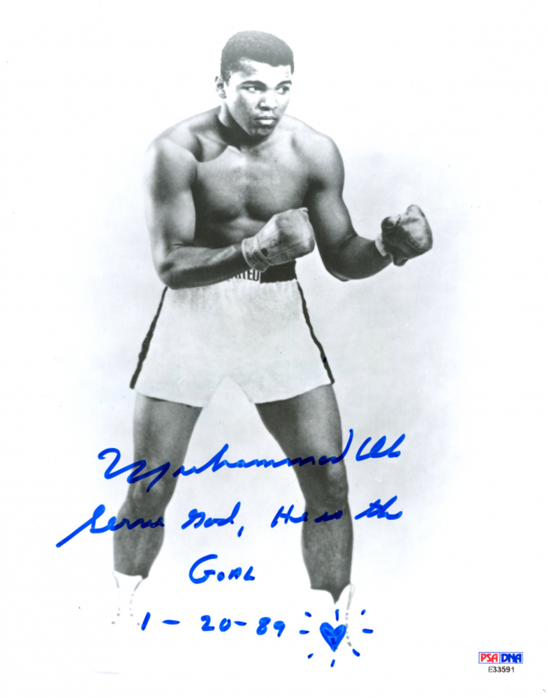 Muhammad Ali Signed 8x10 Photo with Inscriptions (PSA Hologram) at PristineAuction.com