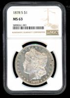 1878-S $1 Morgan Silver Dollar (NGC MS63) at PristineAuction.com
