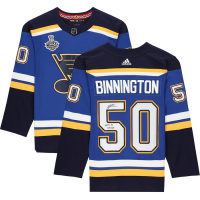 "Jordan Binnington Signed Blues Jersey Inscribed ""2019 SC Champs"" (Fanatics Hologram) at PristineAuction.com"