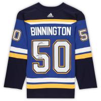 "Jordan Binnington Signed Blues Jersey Inscribed ""2019 SC Champs"" (Fanatics Hologram) at PristineAuction.com"