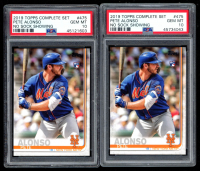 Lot of (2) Pete Alonso 2019 Topps Base Set Photo Variations #475 / No Sock Showing RC (PSA 10) at PristineAuction.com