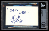 "Bob Kane Signed 3x5 Index Card Inscribed ""Bats Wishes"" (BGS Encapsulated) at PristineAuction.com"