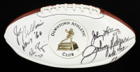 Heisman Trophy Winners Logo Football Signed by (6) with Mike Rozier, Joe Bellino, Johnny Lattner, Johnny Rodgers With Multiple Inscriptions (JSA COA) at PristineAuction.com