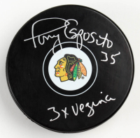 "Tony Esposito Signed Blackhawks Logo Hockey Puck Inscribed ""3x Vezina"" (Schwartz COA) at PristineAuction.com"