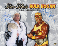 "Hulk Hogan & Ric Flair Signed 16x20 Photo Inscribed ""Hulkamania"", ""Nature Boy"", ""12x"" & ""16x"" (MAB Hologram) at PristineAuction.com"
