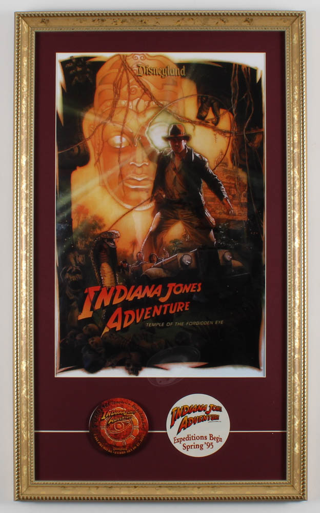 """Disneyland """"Indiana Jones Adventure: Temple of the Forbidden Eye"""" 15x24.5 Custom Framed Poster Print with Cast Premiere Pin & Pre Ride Opening Decal at PristineAuction.com"""