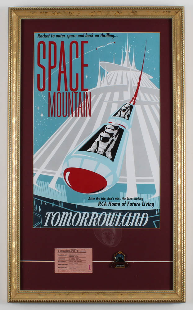 """Disneyland """"Space Mountain"""" 15x25 Custom Framed Print Display with Vintage E-Ride Ticket & Vintage Space Mountain Pin at PristineAuction.com"""