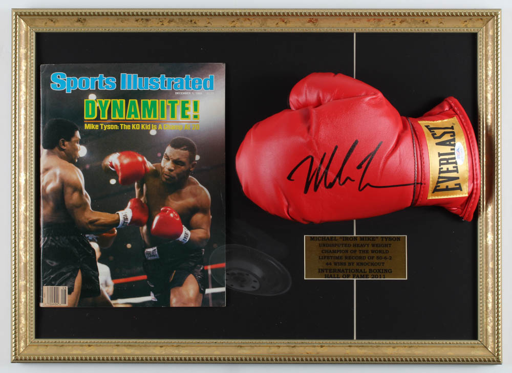 Mike Tyson Signed Everlast 15.5x21.5 Custom Framed Boxing Glove Display WIth 1986 Sports Illustrated Magazine (PSA Hologram) at PristineAuction.com