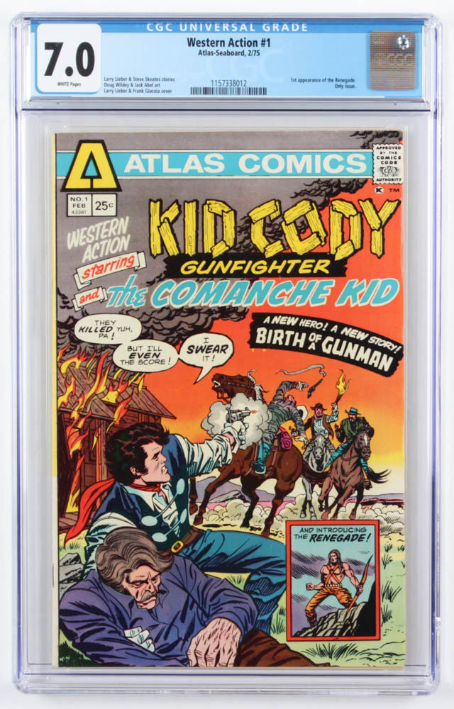 """1975 """"Western Action"""" Issue #1 Atlas Comic Book (CGC 7.0) at PristineAuction.com"""
