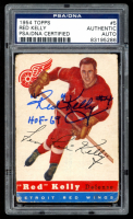 """Red Kelly Signed 1954-55 Topps #5 Inscribed """"HOF-69"""" (PSA Encapsulated) at PristineAuction.com"""