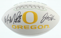 Marcus Mariota & Justin Herbert Signed Oregon Ducks Logo Football (Beckett COA) at PristineAuction.com
