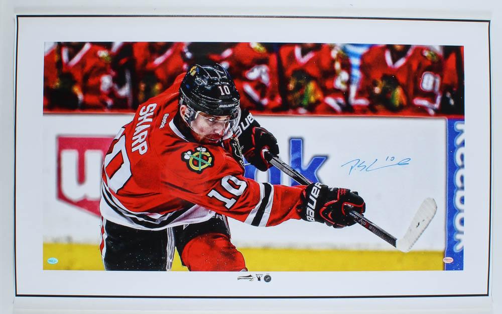 Patrick Sharp Signed Blackhawks 21x34 Photo On Canvas (Sideline Hologram) at PristineAuction.com