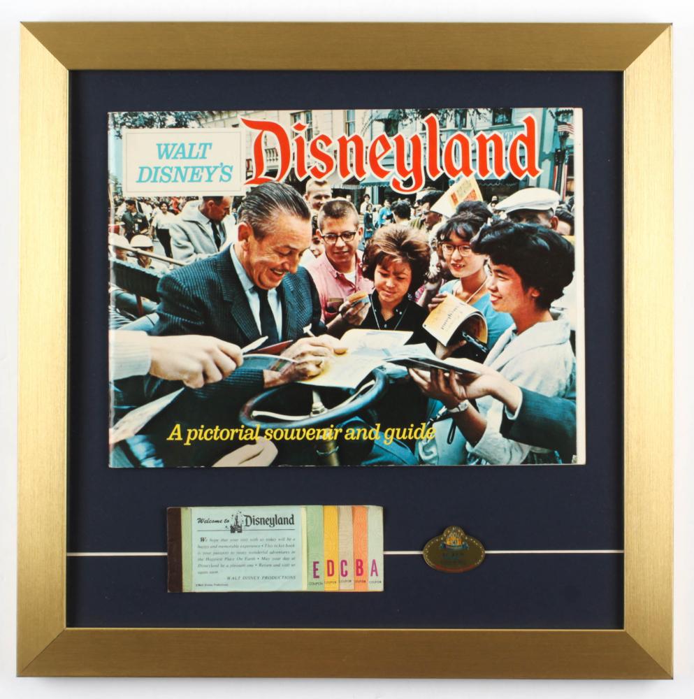 "Walt Disney's ""Disneyland"" 16x16 Custom Framed 1968 Souvenir Guide Display with Vintage Ticket Book & Walt Disney Class of 2005 Pin at PristineAuction.com"