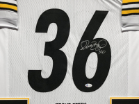 Jerome Bettis Signed 34.5x42.5 Custom Framed Career Highlight Stat Jersey (Beckett COA) at PristineAuction.com