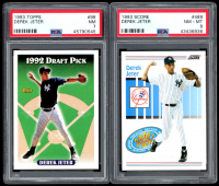 Lot of (2) Graded Derek Jeter Rookie Cards with 1993 Score #489 RC (PSA 8) & 1993 Topps #98 RC (PSA 7) at PristineAuction.com