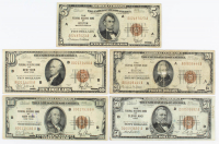Lot of (5) 1929 U.S. National Currency Federal Reserve Bank Notes with $100, $50, $20, $10, & $5 at PristineAuction.com