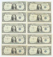 Lot of (10) 1957-B $1 One-Dollar U.S. Silver Certificates at PristineAuction.com