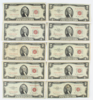 Lot of (10) 1953 $2 Two-Dollar Red Seal U.S. Legal Tender Notes at PristineAuction.com