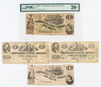 Lot of (4) 1862 Confederate Bank Notes with (2) $2, (1) $1, & (1) Graded $1 (PMG 20, NET) at PristineAuction.com