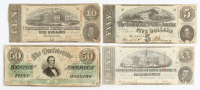 Lot of (4) 1863 Confederate Bank Notes with $50, $20, $10, & $5 at PristineAuction.com