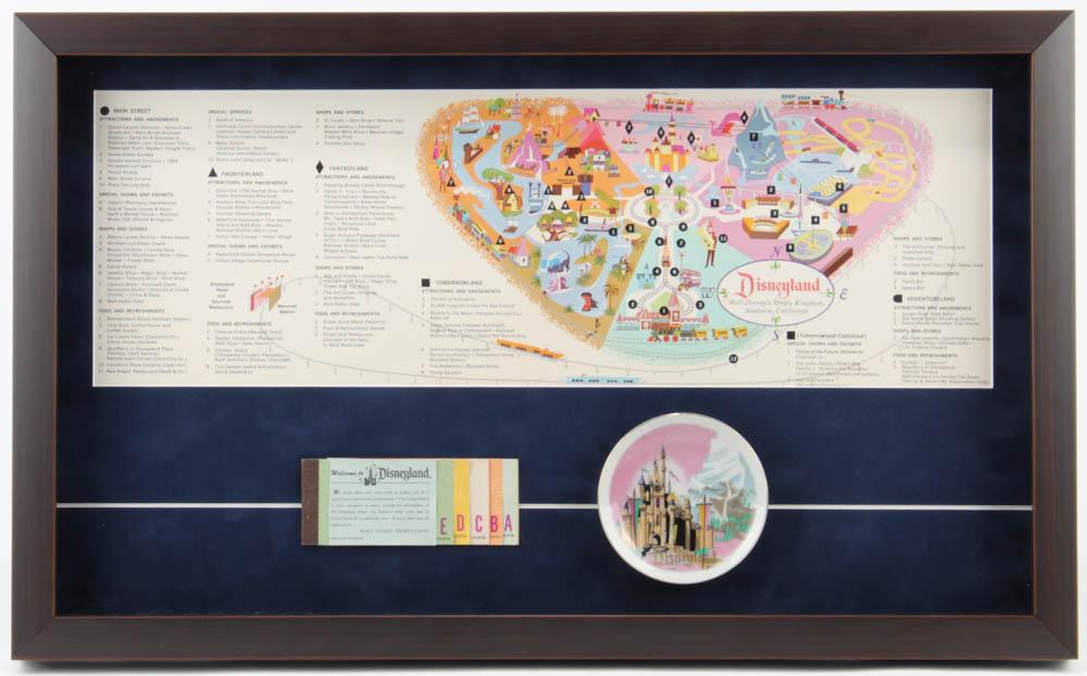 1963 Disneyland Map 15.5x25.5 Custom Framed Print Display with Vintage Ticket Book & Vintage Souvenir Dish at PristineAuction.com
