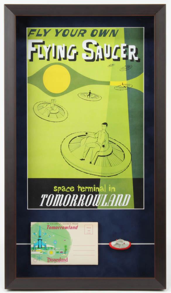 """Disneyland """"Flying Saucer"""" 15x25.75 Custom Framed Poster Display with Vintage Photo Portfolio & Vintage Resin Souvenir Flying Saucer at PristineAuction.com"""