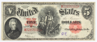 1907 $5 Five-Dollar Red Seal U.S. Legal Tender Large-Size Bank Note at PristineAuction.com