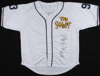 Baseball Jersey Cast-Signed by (6) with Tom Guiry, Chauncey Leopardi, Marty York, Shane Obedzinski, Victor DiMattia, & Brandon Adams With Multiple Inscriptions (Beckett COA) at PristineAuction.com