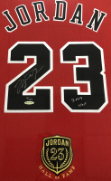 "Michael Jordan Signed Bulls 37.5""x 45"" Custom Framed Mitchell & Ness Jersey Display Inscribed ""2009 HOF"" (UDA COA) at PristineAuction.com"