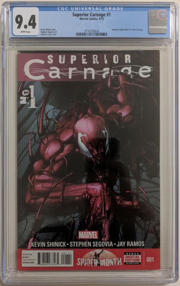"2013 ""Superior Carnage"" Issue #1 Marvel Comic Book (CGC 9.4) at PristineAuction.com"