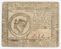 1775 $8 Eight Dollars - Continental - Colonial Currency Note at PristineAuction.com