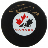 Nathan MacKinnon Signed Team Canada Logo Hockey Puck (FSM COA) at PristineAuction.com
