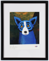 "George Rodrigue Signed ""Blue Dog"" 12x15 Custom Framed Print (PSA COA) at PristineAuction.com"