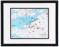 World War II D-Day Map 12x15 Custom Framed Photo Display Signed by (4) with Bud Anderson, Don Jakeway, Bob Bearden & Bernard Nolan (PSA LOA) at PristineAuction.com
