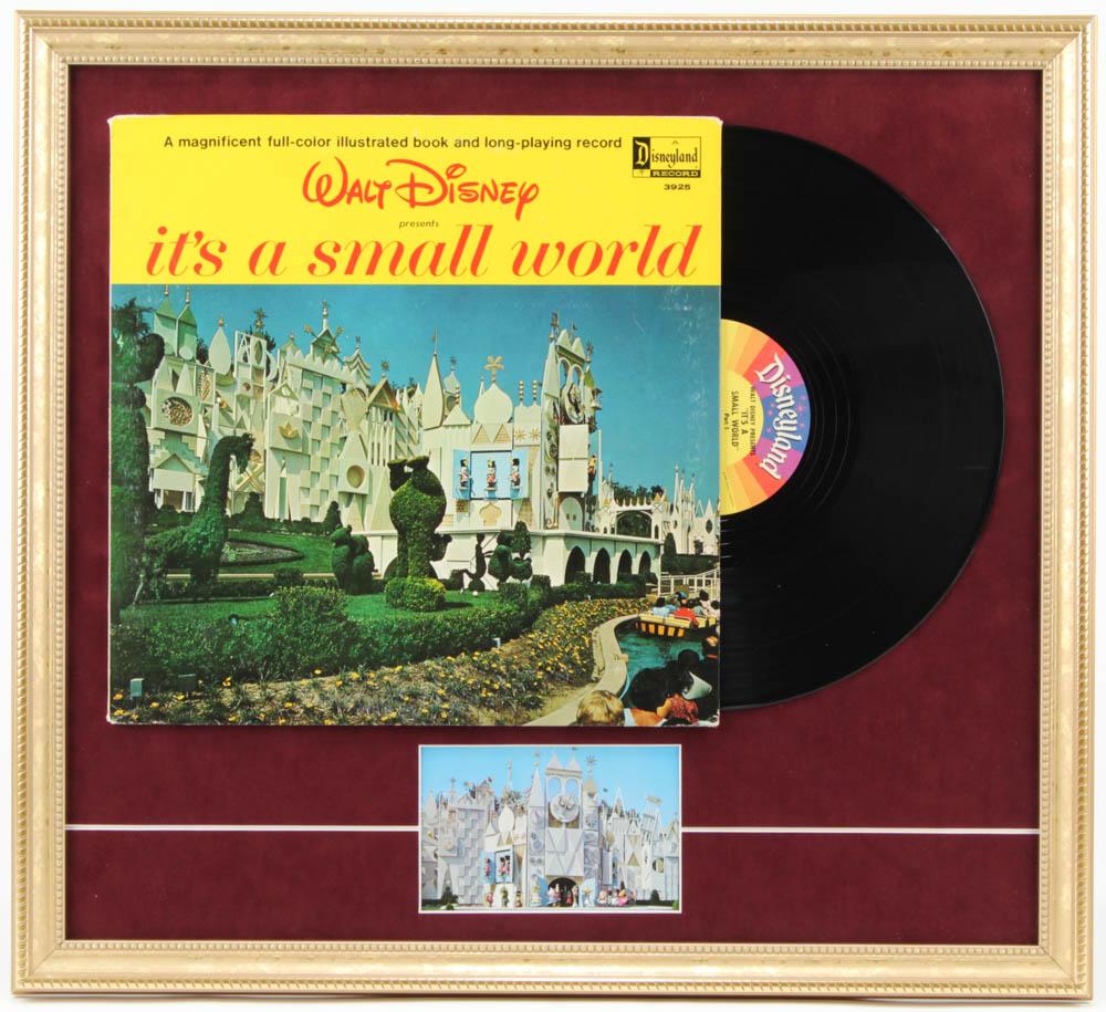 "1964 Original Disney ""It's a Small World"" 19.5x21.5 Custom Framed Vinyl LP Record Display with Vintage Postcard at PristineAuction.com"