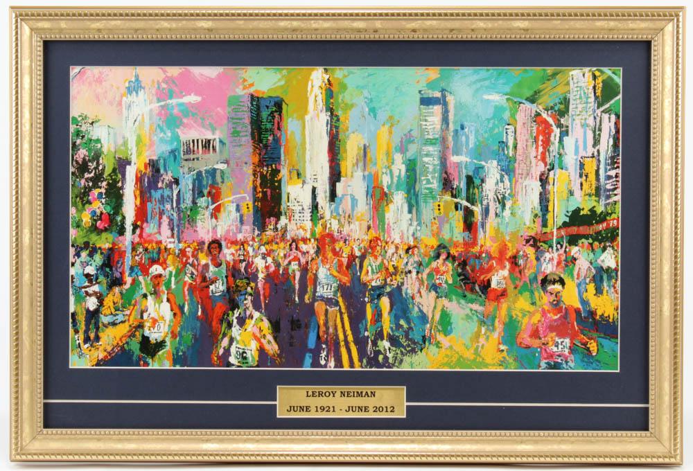 "LeRoy Neiman ""The New York Marathon"" 14.5x21.5 Custom Framed Print Display at PristineAuction.com"
