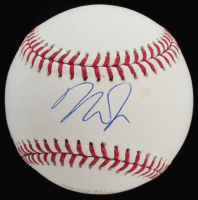 Mike Trout Signed LE OML Career Stat Engraved Baseball (MLB Hologram) at PristineAuction.com
