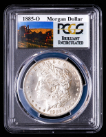 1885-O Morgan Silver Dollar - Stage Coach Label (PCGS Brilliant Uncirculated) at PristineAuction.com