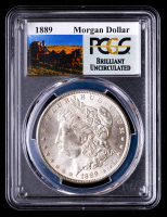 1889 Morgan Silver Dollar - Stage Coach Label (PCGS Brilliant Uncirculated) at PristineAuction.com