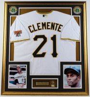 Roberto Clemente 33x37 Custom Framed Jersey Display With 3000 Hit Pin at PristineAuction.com