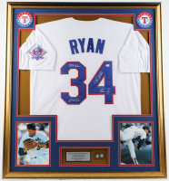 """Nolan Ryan Signed 32x36 Custom Framed Jersey Display Inscribed """"324 Wins"""", """"7 No-Hitters"""" & """"5,714 K's"""" with Hall of Fame Induction Pin (PSA Hologram) at PristineAuction.com"""