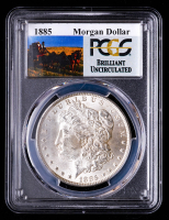 1885 Morgan Silver Dollar - Stage Coach Label (PCGS Brilliant Uncirculated) at PristineAuction.com
