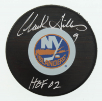 "Clark Gillies Signed Islanders Logo Hockey Puck Inscribed ""HOF 02"" (Schwartz COA) at PristineAuction.com"