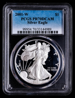 2001-W American Silver Eagle $1 One-Dollar Coin (PCGS PR70 Deep Cameo) at PristineAuction.com