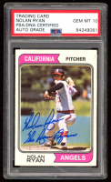"""Nolan Ryan Signed 1974 Topps #20 Inscribed """"The Ryan Express"""" (PSA Encapsulated) at PristineAuction.com"""