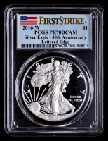 2016-W American Silver Eagle $1 One-Dollar Coin - 30th Anniversary Lettered Edge - First Strike (PCGS PR70 Deep Cameo) at PristineAuction.com